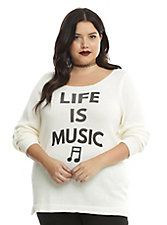 Ivory Lace-Up Back Life Is Music Girls Sweater Plus Size, IVORY