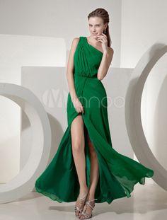 112c4580d Vestido de noche de chifón de verde esmeraldo con escote a un solo hombro -  Milanoo