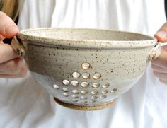 Small ceramic colander pottery berry bowl by thimbleberrypottery