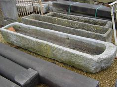 Natural stone troughs, antique wash hand basins and sinks