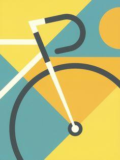 """Summer Sprint,"" my poster design from the 2015 Minneapolis Artcrank bike poster show. Cycling News, Cycling Art, Cycling Quotes, Bicycle Art, Bicycle Design, Logo Velo, Bike Illustration, Bike Poster, Vw T"