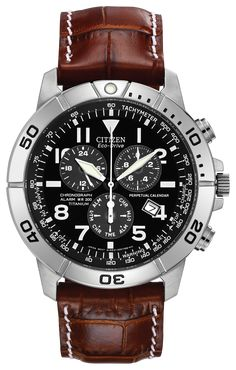 Citizen Eco-Drive Men's Watch with Brown Dial Chronograph Display and Brown Leather Strap Stylish Watches, Luxury Watches For Men, Cool Watches, Gents Watches, Retro Watches, Titanium Watches, Brown Leather Strap Watch, Perpetual Calendar, Citizen Eco