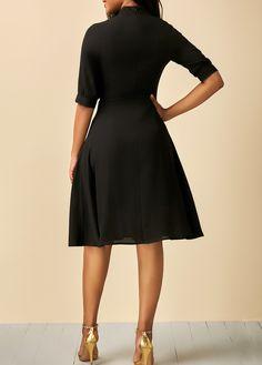 Half Sleeve Tie Neck Patchwork Black Dress | liligal.com - USD $32.53