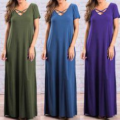 S-5Xl Zanzea Women Short Sleeve Sundress Loose Lace Up Evening Party Maxi Dress