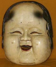 Asian Antiques   Antique Japanese Large Otafuku Meiji Period c.1885 Mask For Sale ...