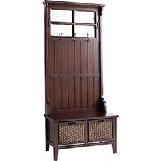 "Alcott Hall Tree  NOW $369.99  Orig. $399.95    It's a coat hanger...and a storage space...and a handy seat. Obviously this hard-working wood and rattan beauty is a must-have for every hallway.     Color: Antiqued brown  Made of glass, pinewood and rattan  Size: 31.75""W x 17.25""D x 80.5""H  A Pier 1 Imports exclusive"