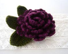 Hand Crochet Corsage Brooch Purple Peony Rose by CraftsbySigita on Etsy