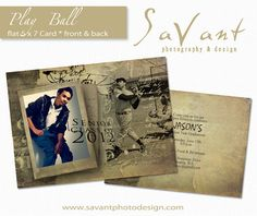 """INSTANT DOWNLOAD Photography Senior Graduation Announcement """"Play Ball"""" 5 x 7 Flat Card Photoshop Template"""