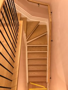 New stairs in progress, walls still needed to be painted. Staircase Railings, Stair Treads, Stairs, Walls, Home Decor, Stairway, Decoration Home, Room Decor, Stair Railing