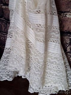 "$44 Antique French Net Lace & Pintucks Flounce ~ Doll Dressing 54""c x 14"" long www.Vintageblessings.com"