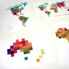 These pixellated continents are fun! Could be an option, or even if you'd like to make more than 1 graphic