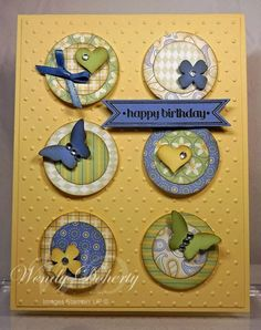 Stamping Styles: Layered Birthday Circles Butterfly Cards, Flower Cards, Handmade Birthday Cards, Greeting Cards Handmade, Card Sketches, Cool Cards, Candy Cards, Scrapbook Embellishments, Card Tags