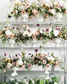 Favorite moment from the this year. seeing my team's arrangements all lined up together. Everyone did amazing! Table Flower Arrangements, Beautiful Flower Arrangements, Floral Centerpieces, Wedding Centerpieces, Wedding Table, Wedding Bouquets, Beautiful Flowers, Wedding Decorations, Flower Table