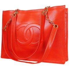 Pre-Owned  Vintage Chanel Light  Tone Red Caviar Jumbo Shopping Tote Bag