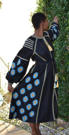 Black Vita Kin style linen vyshyvanka linen MIDI dress blue orange Embroidery. Sizes - XS-XXL MD017