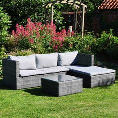 This is a lovely modern rattan effect sofa set. Ideal for any garden, patio or conservatory areas. Available from Garden Mall Rattan Sofa, Rattan Furniture, Cushions On Sofa, Furniture Design, Fire Pit Furniture, Outdoor Garden Furniture, Outdoor Decor, Garden Mall, Corner Sofa Set