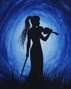 Violinist Silhouette Painting Video Available: http://youtu.be/NHJZ3FD8X4c #SilhouettePainting #Silhouette #AcrylicPainting
