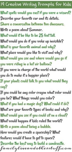 19 Creative Writing Prompts For Kids. Fun brain-stretching activity for kids to do over Summer break! It's interesting to see the creative stories they come up with each day. Source by lifewithheidi Journal Prompts For Kids, Writing Prompts For Kids, Writing Promps, Cool Writing, Writing Lessons, Writing Activities, Writing Practice For Kids, Letter Writing For Kids, 1st Grade Writing Prompts