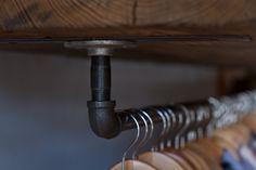 Simple DIY clothing rod option for tee shirts Diy Furniture Building, Furniture Making, Simple Diy, Easy Diy, Home Organization, Organizing, Cedar Homes, Wall Trim, Closet Rod