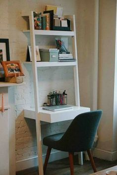 home office leaning desk home office in a small apartment nyc apartment office decor Home Office Design, Home Office Decor, Home Decor Bedroom, Office Ideas, Funky Bedroom, Diy Bedroom, Bedroom Furniture, Office Designs, Small Desk For Bedroom