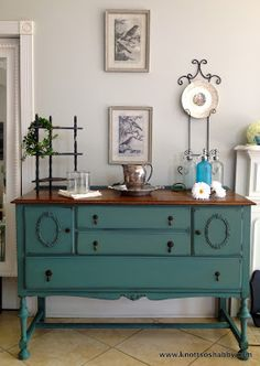 Antique Buffet in Miss Mustard Seed's Kitchen Scale with refinished top,  by Knott So Shabby.