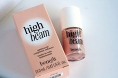 Benefit High Beam -- great highlighter. Use this at the top of cheekbones, below your brow, center of forehead. Makes your skin glow, without too much shimmer! Helpful tip as well...add a dab to your cupid's bow (above lip), it will make your lips look fuller!