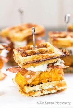 Buffalo Chicken & Blue Cheese Bacon Waffle Club Sliders - The Funky Spatula Recipes