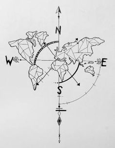 geometric world map compass arrow nautical travel tattoo design More by alba