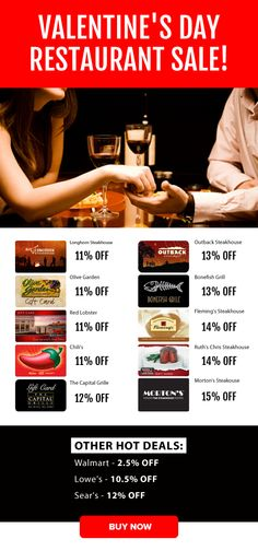 Valentine's Day Restaurant Sale - Capital Grille 12% OFF, Ruth's Chris 14% OFF, Morton's Steakhouse 15% OFF and More!