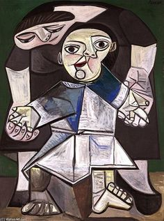 The First Steps: 1943 by Pablo Picasso    metal wall art   large art   interior design   modern art   modern   cubism   Cube paintings   #metalwallart #interiordesign https://www.statements2000.com/