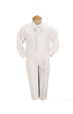 White Boys Embroidered Jacquard Christening Baptism or Wedding Vest Set - Size 3T Lito