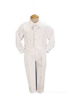 4 Piece White Boys Embroidered Jacquard Christening Baptism or Wedding Vest Set $25.47
