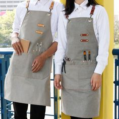 Long Gray Khaki Canvas Apron - Little Tailor Studio Barista, Waiter Uniform, Barber Apron, Leather Book Covers, Leather Suspenders, Leather Apron, Leather Workshop, Chef Apron, Sewing Aprons