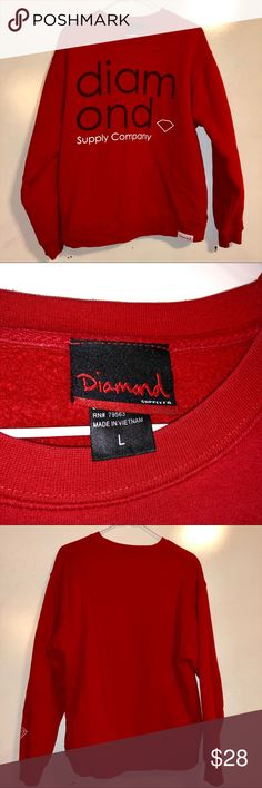 8e069619c8 ... Stussy   Vans. See more. Diamond Supple Co. Red Crewneck Good  condition. Size Large. Stylish Diamond Supple Co