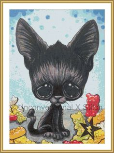 Black Cat kitty cross stitch pattern - Licensed Sugar Fueled by UnconventionalX on Etsy