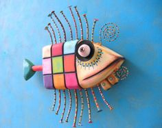 Checkered Trout, Original Found Object Wall Sculpture, Wood Carving, Wall Decor, Fish Art, by Fig Jam Studio