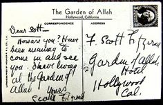 Postcard written by F. Scott Fitzgerald and sent to himself while living at the Garden of Allah Hotel