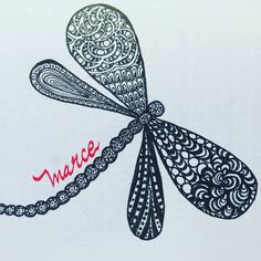. [ES] Menos es más dicen por ahí. Este es mi nombre :P . [EN] Less is more they say out there. This my name >.< #letterswithbarb #letteringchallenge #doodlechallenge #name #libélula #dragonfly #zentangle #bujoinspire #instaart #bulletjournal