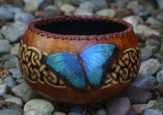 Blue Morpho Butterfly Celtic Knots Gourd Bowl by JRAGourdArt, $175.00