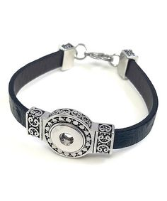 Another great find on #zulily! Silvertone & Black Leather Small Interchangeable Snap Bracelet #zulilyfinds