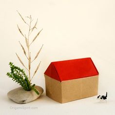 An Origami House for Lady Coco post image Origami Paper Folding, Napkin Folding, Origami Easy, Christmas Tree Ornaments, Christmas Diy, Theatrical Scenery, Small Kittens, Third Anniversary, Origami Tutorial