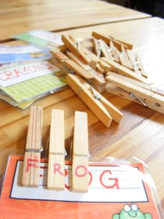 Montessori At Home: buy a bunch of cheap pegs then add alphabet. Print cards with words on them & laminate. Fine motor skills, language and literacy. Free Activities For Kids, Literacy Activities, Educational Activities, Crafts For Kids, Spelling Activities, Activities For 4 Year Olds, Time Activities, Literacy Centers, Diy Crafts