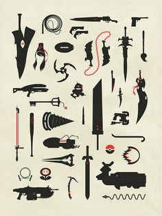 Video Game Weapons Gaming Swords Guns Collage by jefflangevin
