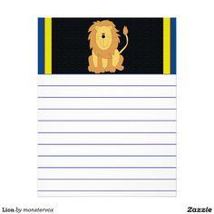 Lion Letterhead #Lion #Cat #Feline #Animal #Cartoon #Art #Letterhead #Stationery #Kids #Children