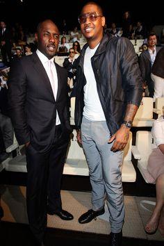 Carmelo Anthony Idris Elba Photos - Idris Elba and Carmelo Anthony attend the Armani fashion show as part of Milan Fashion Week Menswear Spring/Summer 2012 on June 21, 2011 in Milan, Italy.on June 21, 2011 in Milan, Italy. - Giorgio Armani - Milan Fashion Week Menswear Spring/Summer 2012