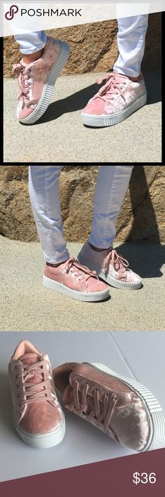 Velvet Sneakers Super soft and comfortable laced up velvet creeper sneaker. Shoes Sneakers