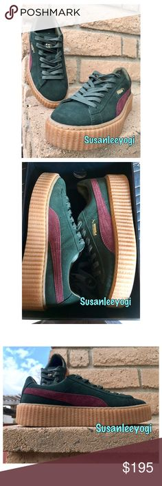 """Puma 🌟Rihanna Fenty Suede Creepers Platforms 8.5 Music's reigning It girl, Rihanna, collaborated with PUMA on these '90s-cool creepers, featuring textured flatform soles and signature suede styling. Suede upper, leather lining, rubber sole Green/Bordeaux color-sold out Round toe; lace up 1.5"""" platform Brand new in box with dust bag and extra laces. Never worn. 100% Authentic! Size 8.5 but this style runs a little small/narrow. Better for an 8 or narrow 8.5. To clarify-On the box it says 39…"""