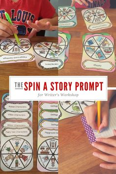Kindergarten to Grade 2 picture writing prompts that students use to create an individal interactive prompt.  Simply spn for a character, setting, and activity and the kids are off.
