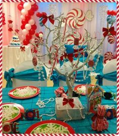 What a set up at a Winter Wonderland party!    See more party ideas at CatchMyParty.com!  #partyideas #winterwonderland