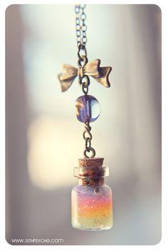 Hada azul cuando usted en un frasco de vidrio estrella collar con una estrella collar de encanto